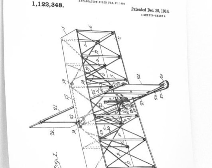 Wright Brothers Airplane Patent Print