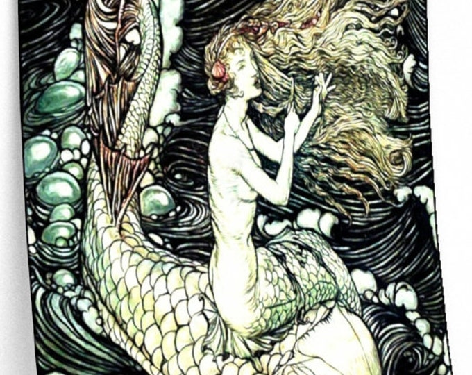 MERMAID ON DOLPHIN - Arthur Rackham Print, Ondine, Fairy Tale Poster, Vintage Art, Book Illustration, Rackham Wall Art