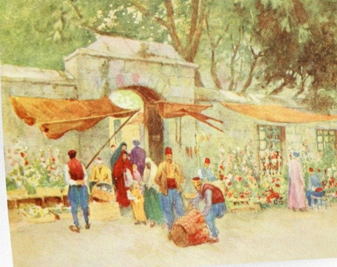 Warwick Goble Print At The Village Gate Constantinople Vintage 1900s
