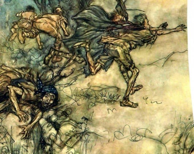 VINTAGE WATERCOLOR POSTER - Men Scattering, Arthur Rackham, Book Illustration