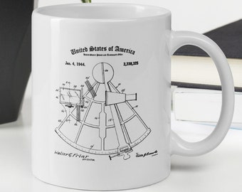 NAUTICAL MUG PATENT | Sextant Print | Vintage Nautical | Sailor Mug