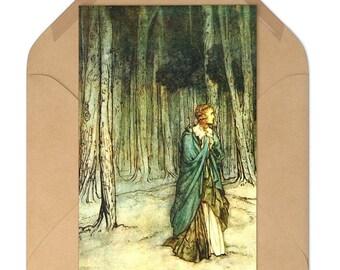Note Card Set of 7 Arthur Rackham Book Illustration Print Craft Envelopes