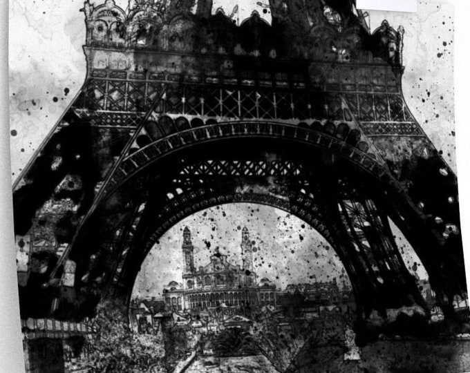 EIFFEL TOWER POSTER - Vintage Wall Art, Landmark Wall Art, Paris France Landmark Print