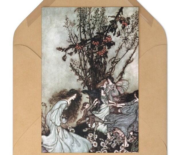 Postcards Set of 7 Note Cards Arthur Rackham Fairy Print With Craft Envelopes
