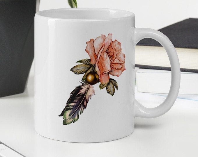 ROSE and FEATHER MUG | Big Ceramic Coffee Mug With Native American and Vintage Feel