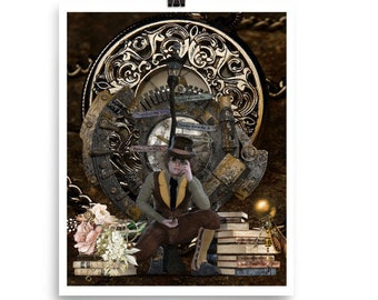 STEAMPUNK WATCHES and Boy With Books Poster FANTASY Art With Floral Art Accents
