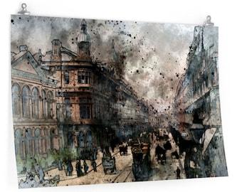 BELFAST WATERCOLOR PRINT - Northern Ireland Poster, Belfast Cityscape Wall Art, Belfast Skyline Print