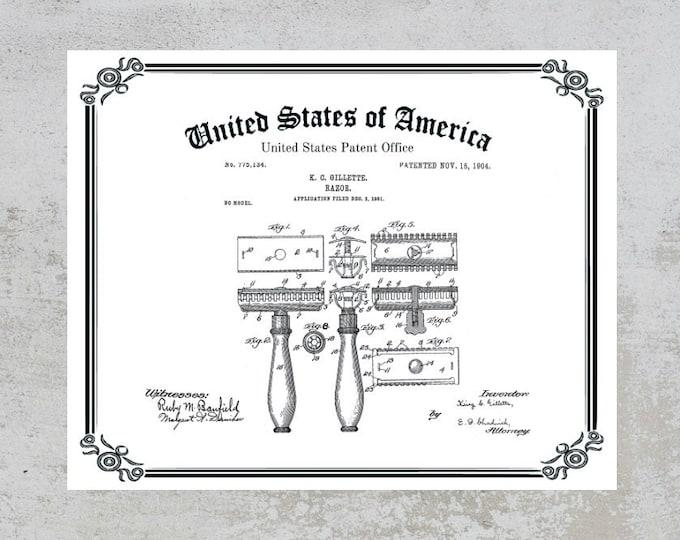 Vintage GILLETTE RAZOR PATENT Print, Digital Download, Original Gillette Safety Razor Patent