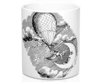 MAN ON THE Moon Mug - Steampunk Art, Coffee Mug, Moon Art, Black and White Art
