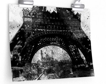EIFFEL TOWER POSTER - Vintage Wall Art, Landmark Wall Art, Paris France Landmark Print