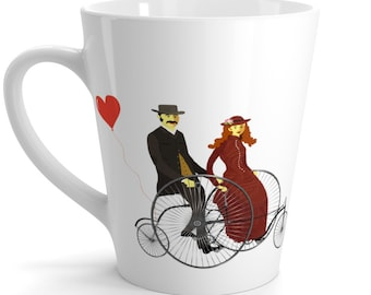 VINTAGE VALENTINE Latte mug - Vintage Bicycle, Red Heart, Bicycle Built For Two, Victorian Decor