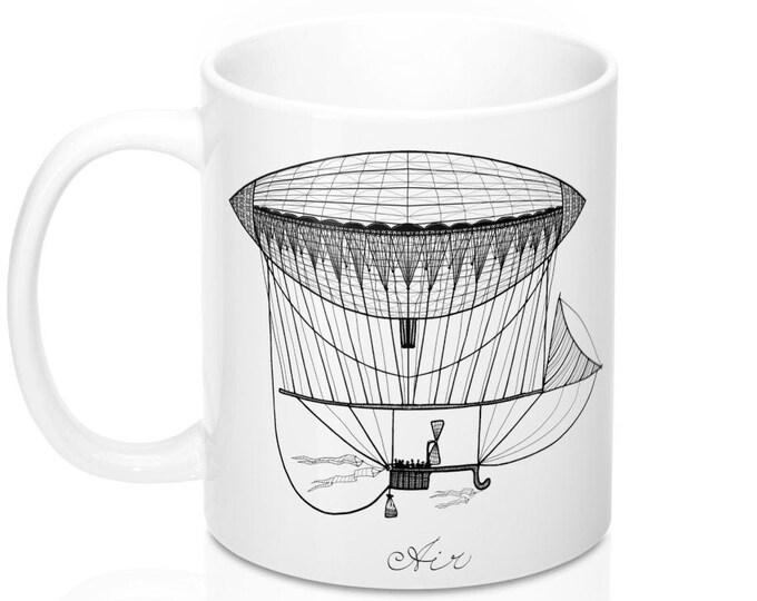 STEAMPUNK AIRSHIP MUG - Ceramic Mug, Steampunk Decor, Steampunk Art, Airship, Vintage Airship Art