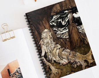 MERMAN ARTHUR RACKHAM - Journal, Spiral Notebook, Lined Bullet Journal, Perfect For Journaling Or Scrapbooking