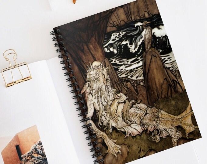 MERMAN ARTHUR RACKHAM - Journal, Spiral Notebook, Lined Bullet Journal, Perfect For Journaling Or Scrapbooking