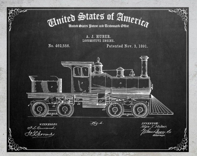 VINTAGE TRAIN PATENT Print, Digital Download, Steam Engine Poster, Printable Wall Art, Gifts For Him