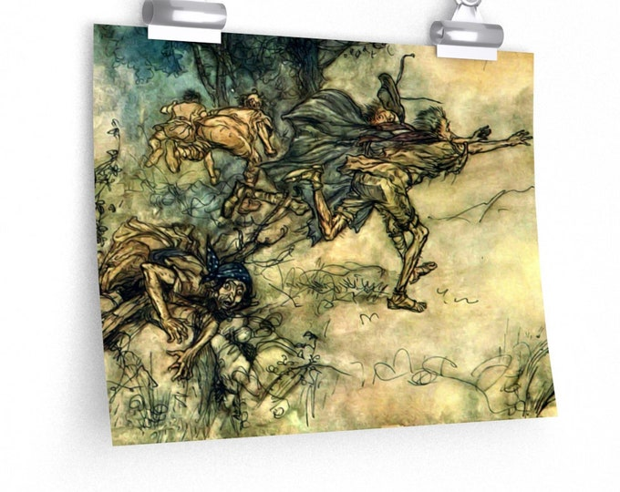 VINTAGE WATERCOLOR POSTER - Men Scattering, Arthur Rackham, Book Illustration