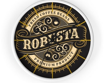 Robusta FRESH COFFEE BEANS Coffee Wall Clock, Victorian, Steampunk, Art Deco, Espresso