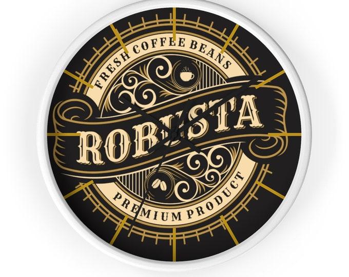 Robusta FRESH COFFEE BEANS Coffee Wall Clock, Victorian, Steampunk, Art Deco, Espresso