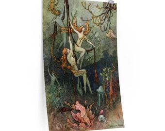 Warwick Goble Sea Nymphs Ring His Knell Nautical Fairy Art Print