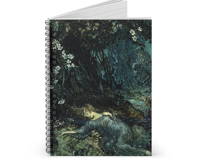 JOURNAL ARTHUR RACKHAM - Fantasy Book Illustration Rackham Art Cover Print, Lined Notebook, Spiral Journal, Sleeping Beauty