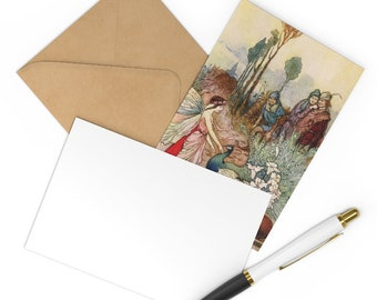 Postcards 7 Note Card Set Warwick Goble Peacock Print With Craft Envelope