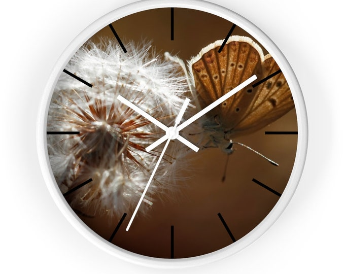 Wall Clock Butterfly and Dandelion 10 Inch Analog Battery Operated