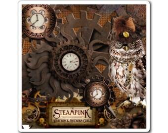 STEAMPUNK MAGNET - Refrigerator Magnet, Steampunk Owl, Steampunk Clocks,