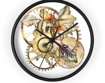 GOLDEN STEAMPUNK GEARS  Wall Clock - Steampunk Wall Clock, Vintage Clock, Clock With Gears