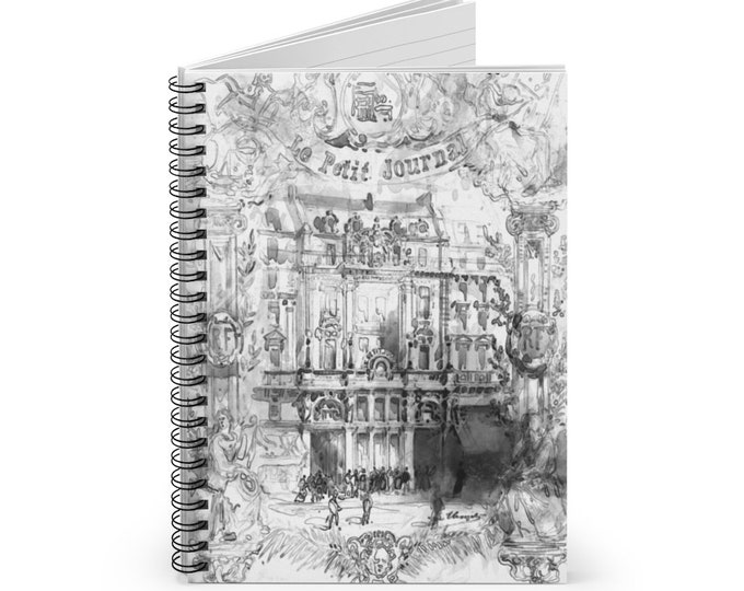 Vintage French Black and White Drawing Lined Spiral Journal - Notebook, Bullet Journal