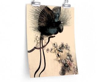 FAIRY & BIRD Poster - Warwick Goble Watercolor Wall Art, Fantasy Art Print, Vintage Book Art