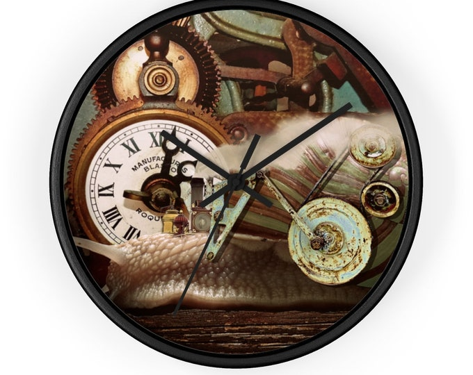 Steampunk Wall Clock Snail, Gears, Clocks Fantasy Clock