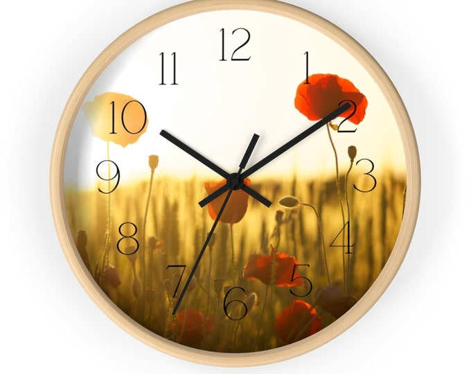 Orange and Gold Poppies At Sunset Flower Wall Clock