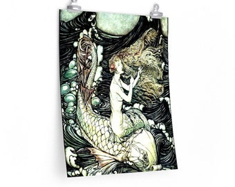MERMAID ON DOLPHIN - Arthur Rackham Print, Ondine, Fairy Tale Poster, Vintage Art, Book Illustration, Rackham Wall Art