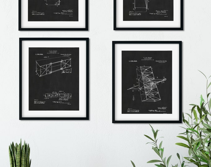 1914 AIRPLANE PATENT PRINT On ChalkBoard Background, Digital Download, Wright Brothers Early Patent, 4 Print Set