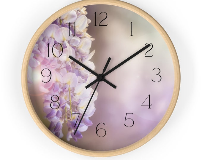 Earthly Ochres and Purple Wisteria Spring Flower Wall Clock