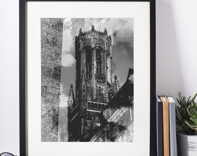 BELGIUM BELFRY PRINT - Black and White Poster, Pen and Ink Drawing, Vintage Architecture Wall Art