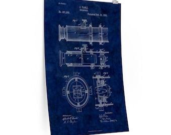 TELESCOPE PATENT POSTER - Patent Print, Nautical Print, Military Art, Vintage Print