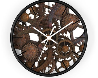 STEAMPUNK BRONZE GEAR Wall Clock, Steampunk Decor, Steampunk Wall Clock, Steampunk Gears