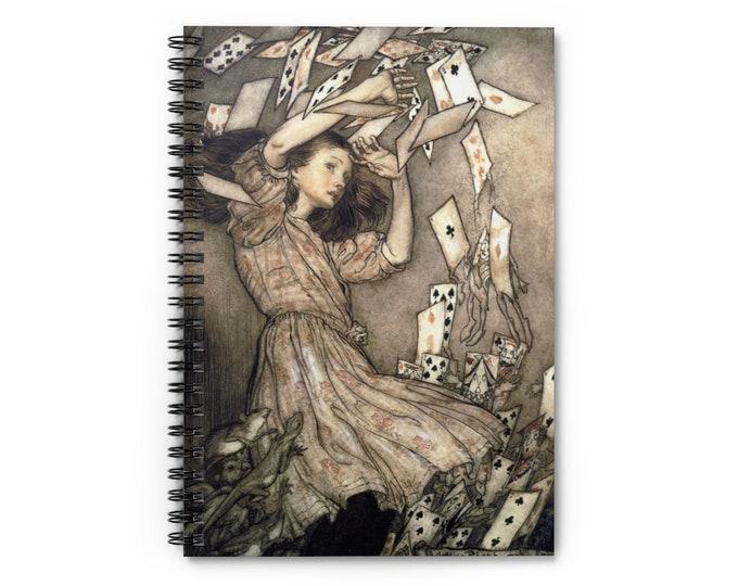 Alice In Wonderland  Journal - Arthur Rackham Print Cover - Spiral Notebook, Lined Journal, Bullet Journal, Journals For Men