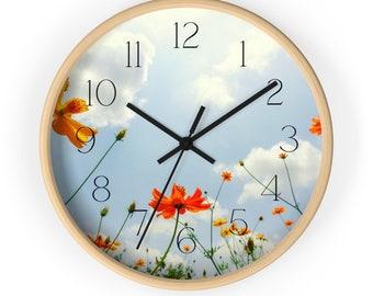 Orange Poppy Field Against Blue Sky Floral Wall Clock