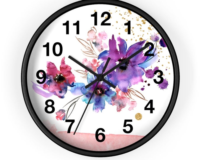 Light Blue And Purple Watercolor Flower Analog Wall Clock
