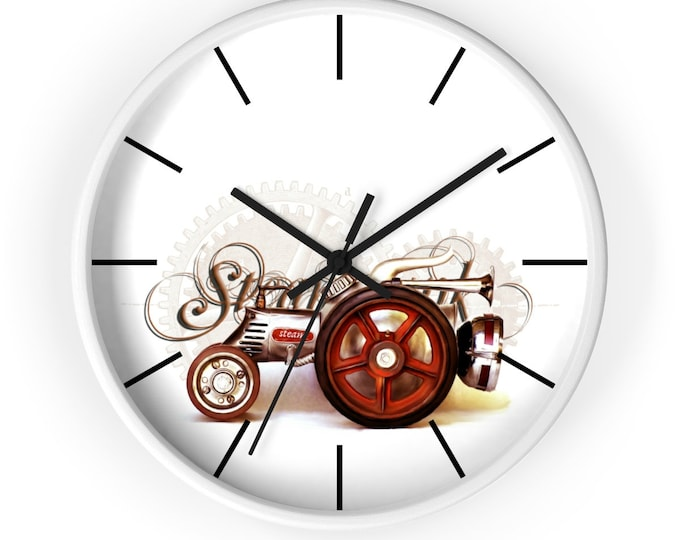 Steampunk TRACTOR WALL CLOCK - Steam Tractor, Art Deco Design, Steampunk Decor, Garage Decor