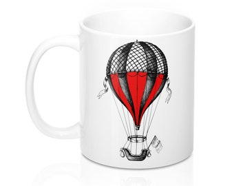STEAMPUNK AIR BALLOON Mug - Victorian Art, Steampunk Art, Coffee Mug, Red Balloon