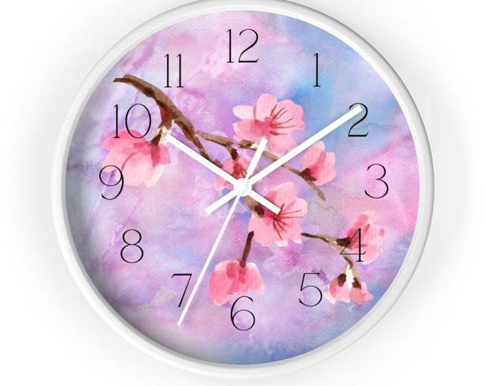 Cherry Blossom Branch Against Sky Blue Background Analog Wall Clock