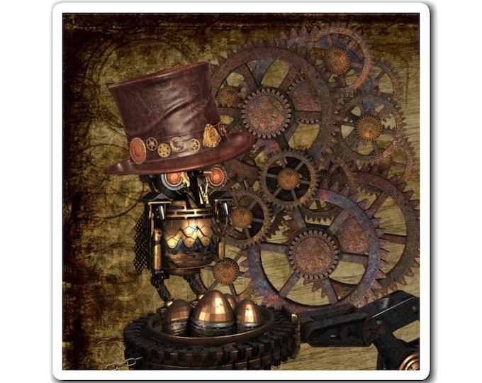 STEAMPUNK MAGNET - Mechanical Owl With Hat, Bronze Gears, Fridge Magnet, Steampunk Decor, Man Cave Magnet, Locker Magnet