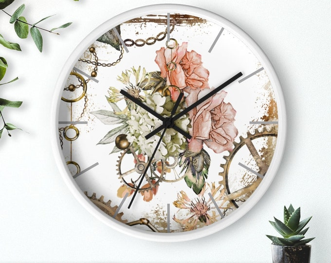 Steampunk clock FEMININE STEAMPUNK - Wall Clock, Gift For Her, Flower Clock