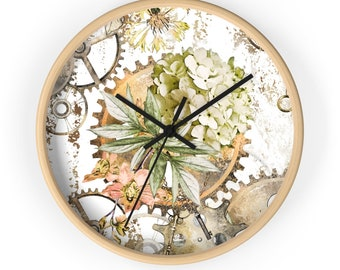 HYDRANGEA STEAMPUNK CLOCK - Ugears Victorian Era Analog Wall Clock