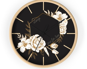 VINTAGE FLOWER CLOCK - Valentines Day Wall Clock, Romantic Clock, Valentines Gift For Her, For Him