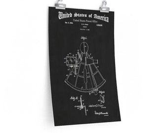 VINTAGE SEXTANT POSTER From Patent Print, Nautical Art, Industrial Art, Military Art