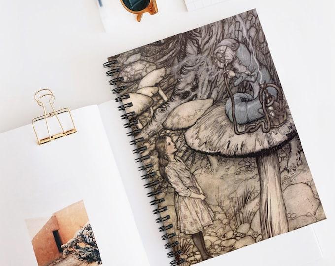 ALICE IN WONDERLAND Caterpillar Journal Cover Print By Arthur Rackham, Spiral Notebook, Ruled Lined Journal, Journals for Men,